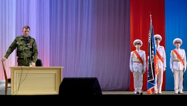 Глава Донецкой народной республики Александр Захарченко на концерте в Театре оперы и балета в Донецке. 23 февраля 2015