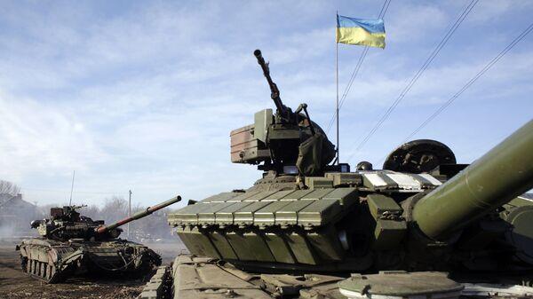 Военная техника украинской армии на позиции возле Горловки. Украина