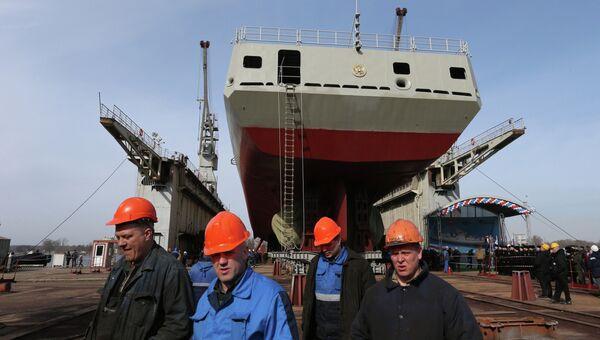 Фрегат Адмирал Григорович на верфях Прибалтийского судостроительного завода Янтарь