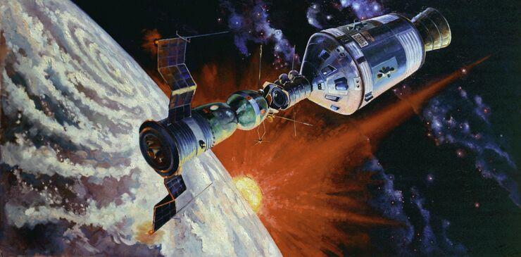Репродукция картины летчика-космонавта СССР Алексея Леонова Орбитальная станция Союз - Апполон. 1974 год