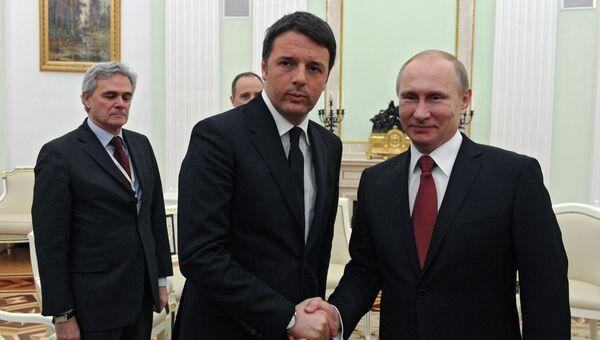 Президент РФ В.Путин  с премьер-министром Италии М.Ренци. Архивное фото