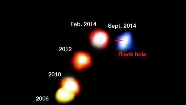 Фотографии облака газа G2, полученные телескопом VLT в разные периоды времени
