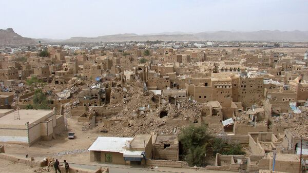Виды на разрушения в городе Саада. Архивное фото