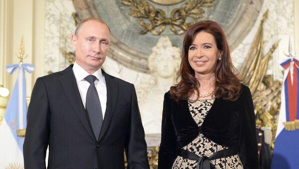 Президент России Владимир Путин и президент Аргентины Кристина Фернандес де Киршнер. Архив