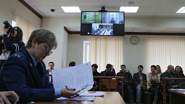 В зале суда во время рассмотрения законности ареста губернатора Сахалинской области Александра Хорошавина и советника губернатора Сахалинской области Андрея Икрамова в Мосгорсуде