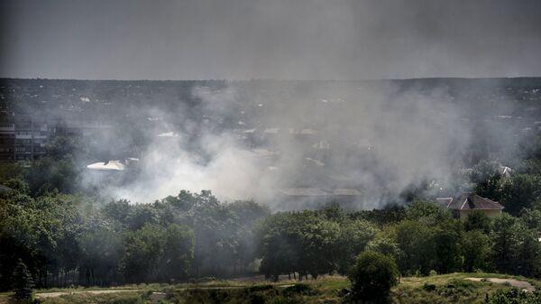 Артиллерийский обстрел города Луганска украинскими силовиками