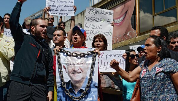 Митинг в поддержку мэра Каракаса Антонио Ледесмы. Архивное фото