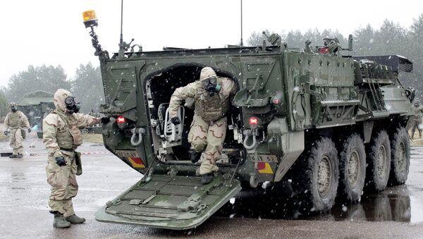 Бронетранспортер Страйкер во время военных учений НАТО Operation Summer Shield на полигоне Адажи в Латвии. Архивное фото