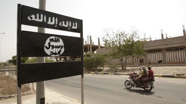 Знак Аль-Каиды в провинции Йемена. Архивное фото
