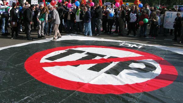 Акции протеста против торгового соглашения США и ЕС в Мадриде