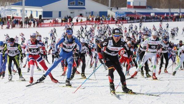 Участники международного Авачинского лыжного марафона