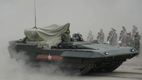 БМП Армата на полигоне в Алабино во время тренировки к Параду Победы
