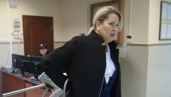Бывшая глава департамента имущественных отношений министерства обороны России Евгения Васильева в Пресненском суде Москвы перед заседанием. 24 апреля 2015