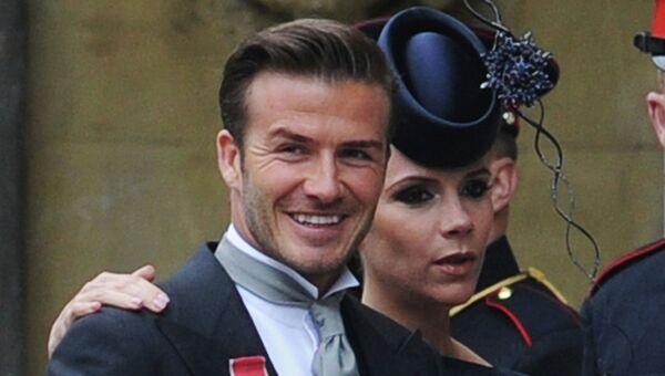Дэвид Бекхэм и Виктория Бекхэм во время королевской свадьбы принца Уильяма и Кейт Миддлтон в Вестминстерском аббатстве