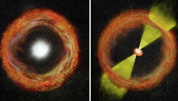 Слева изображена обычная сверхновая типа II, справа – сверхновая Ic, порождающая гамма-всплеск, в центре – промежуточное звено SN 2012ap