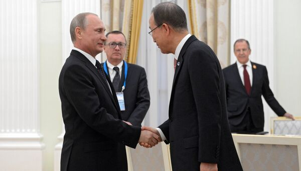 Президент России В.Путин встретился с генеральным Секретарем ООН Пан Ги Муном. Архивное фото