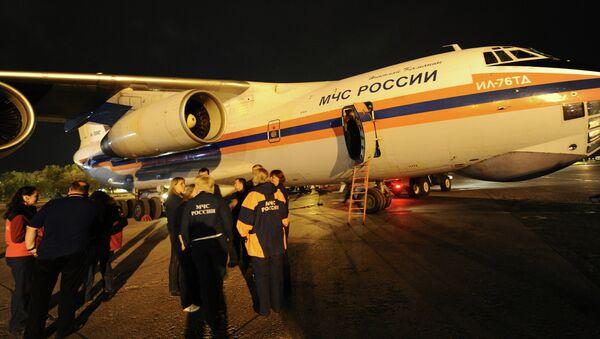Самолет МЧС России с тяжелобольными детьми из Донбасса. Архивное фото