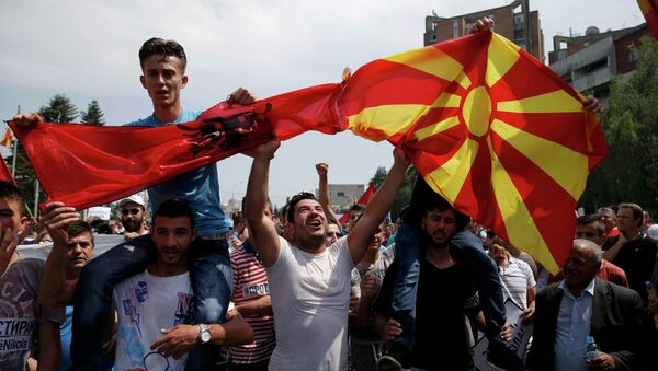 Антиправительственный митинг в столице Македонии, 17 мая 2015 года