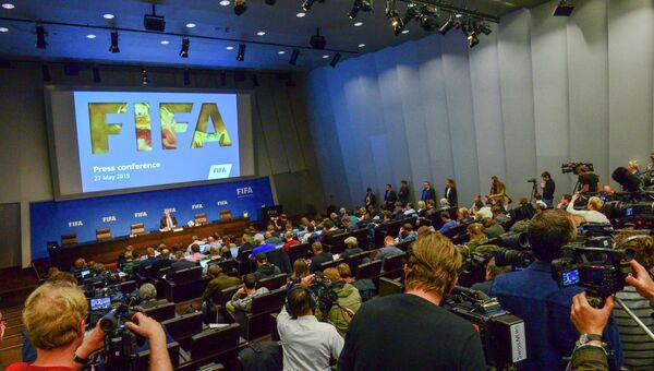 Директор по связям с общественностью ФИФА Вальтер де Грегорио во время пресс-конференции. Архивное фото