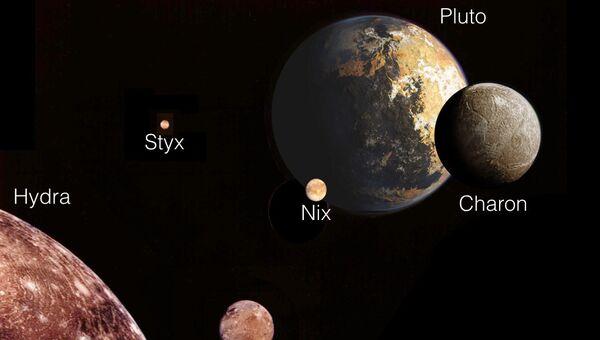 Спутники Плутона в представлении художника