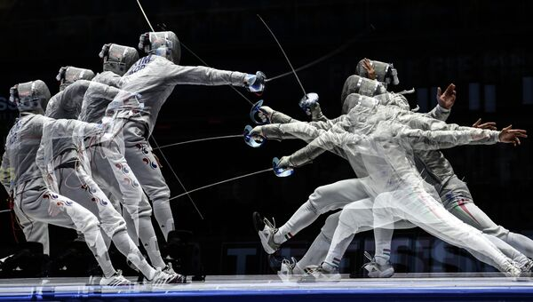 Соревнованиях по фехтованию. Архивное фото