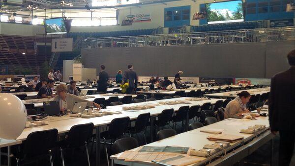 Работа пресс-центра в Гармиш-Партенкирхене, освещающего саммит G7