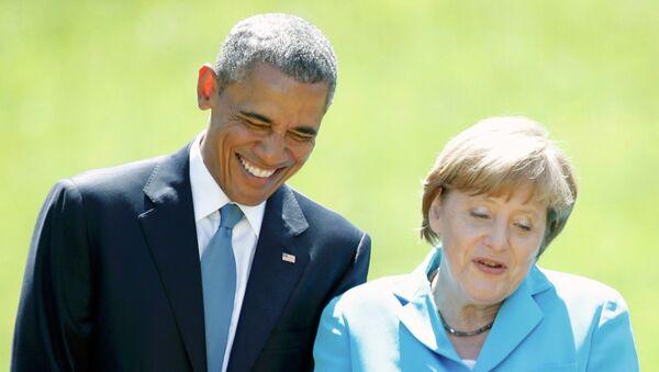 Ангела Меркель и Барак Обама во время саммита стран Группы семи в замке Эльмау, Бавария