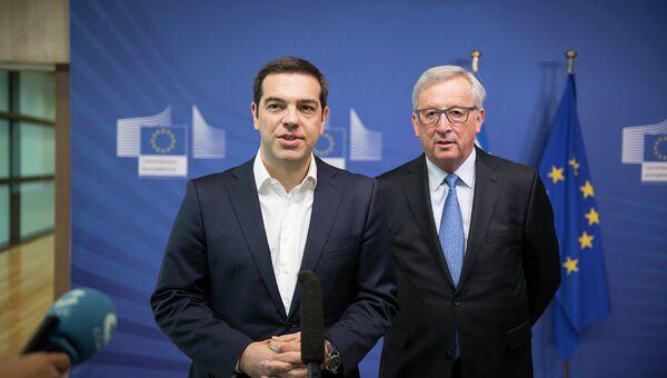 Встреча премьер-министра Греции Алексиса Ципраса и председателя Еврокомиссии Жан-Клода Юнкера. Архивное фото