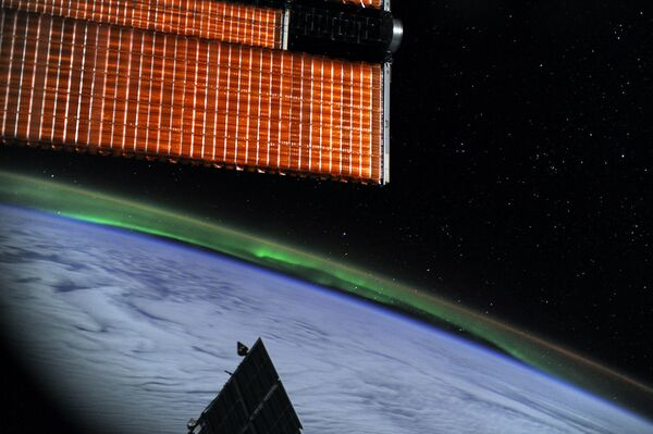 Полярное сияние с борта Международной космической станции