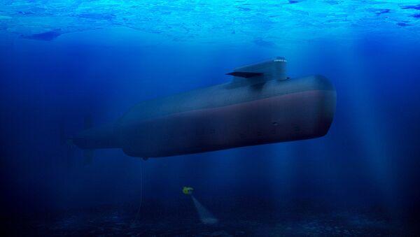 Подводная лодка в водах Арктики. Архивное фото