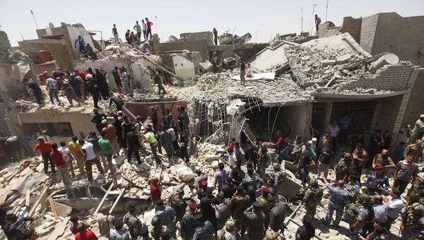Жилой квартал в Багдаде, который был обстрелян штурмовиком ВВС Ирака