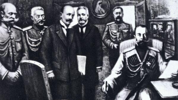 Репродукция картины, изображающей отречение императора России Николая Второго от престола