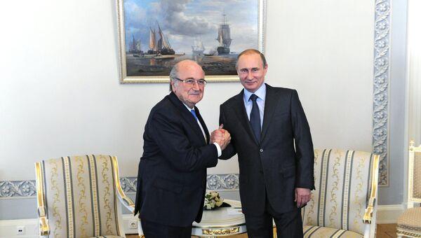 Президент РФ Владимир Путин встретился с президентом ФИФА Йозефом Блаттером