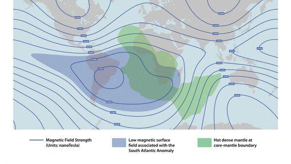 Карта магнитной аномалии (синие линии) в южной Атлантике, и колонна из плотной мантии (зеленое пятно)