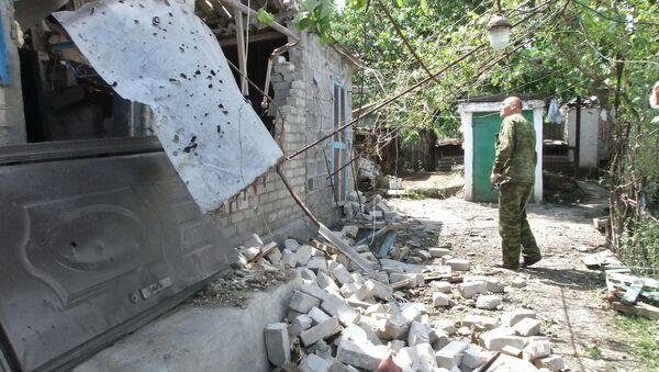Последствия обстрела села Саханка. Архивное фото