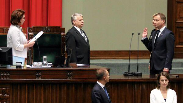 Президент Польши Анджей Дуда в парламенте во время церемонии принятия присяги в Варшаве