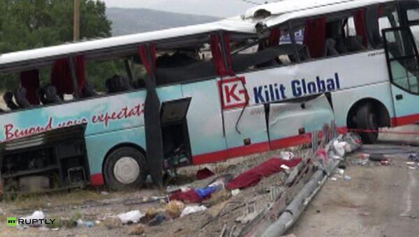 Место аварии экскурсионного автобуса в Турции