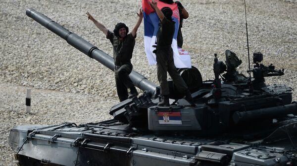 Танкисты, участники полуфинала чемпионата мира по Танковому биатлону из команды министерства обороны Сербии