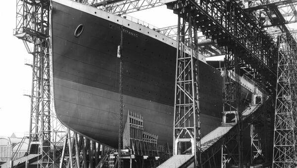 Подготовка Титаника к спуску на воду. 1911 год