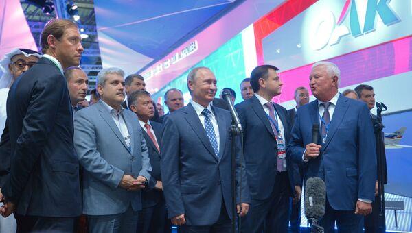 Президент РФ В.Путин посетил Международный авиационно-космический салон МАКС-2015