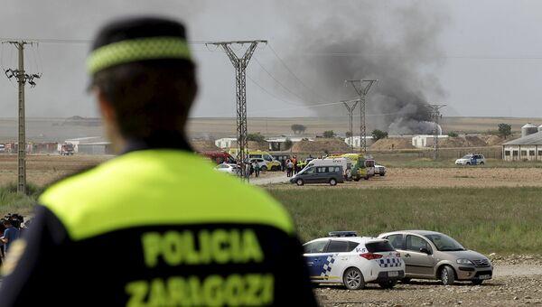 На месте взрыва на пиротехнической фабрике в испанском городе Сарагоса. Испания, 31 августа 2015