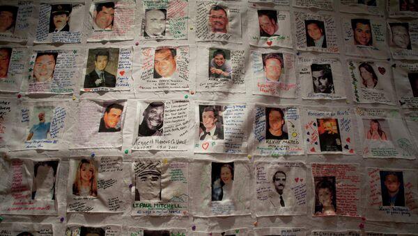 Фотографии жертв терактов 11 сентября, показанные на пресс-конференции 10 сентября 2012 года в Нью-Йорке