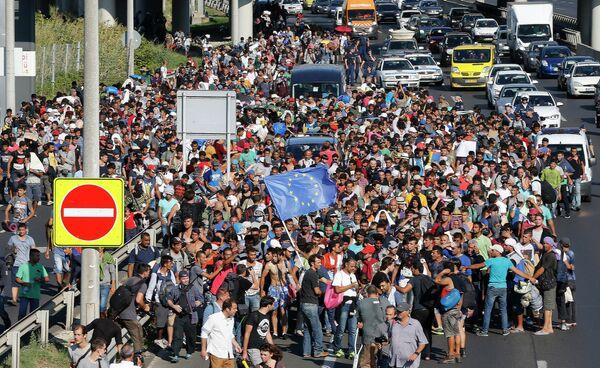 Мигранты на улицах Будапешта