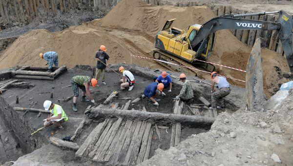 Археологи на территории строящегося парка Зарядье