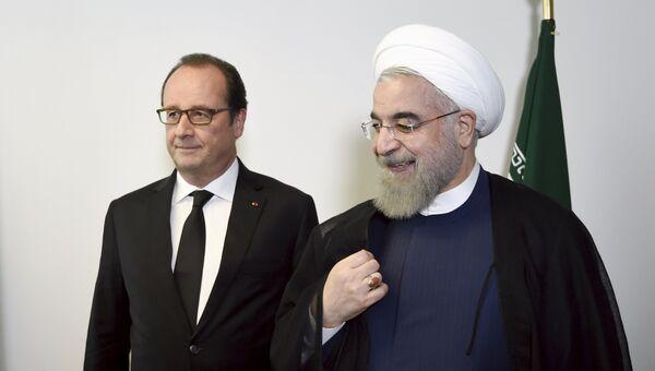 Президенты Франции и Ирана Франсуа Олланд и Хасан Роухани на встрече в ООН