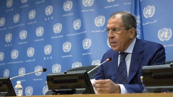 Глава МИД России Сергей Лавров на пресс-конференции в ООН