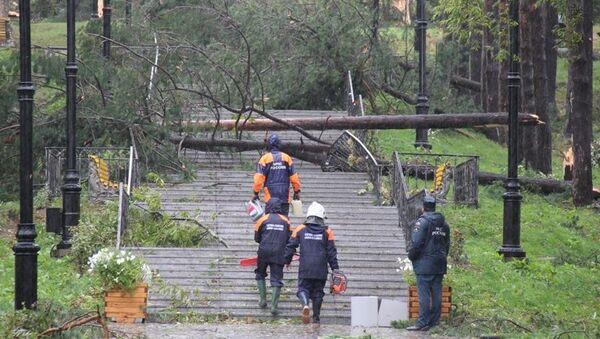 Последствия шторма на Сахалине