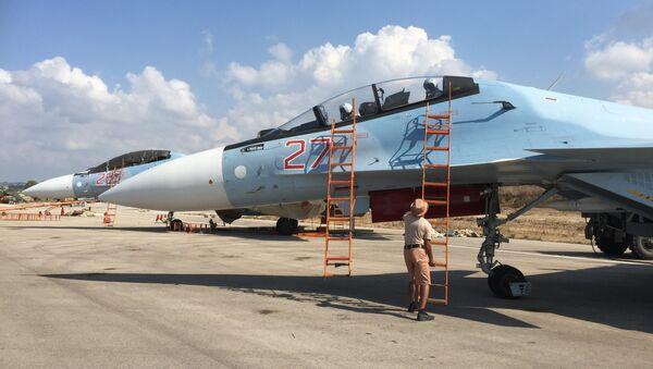 Российский истребитель СУ-30СМ на авиабазе Хмеймим в Сирии
