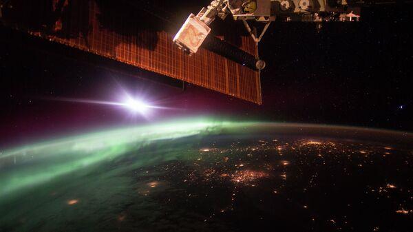 Фотография полярного сияния, сделанная с борта Международной космической станции
