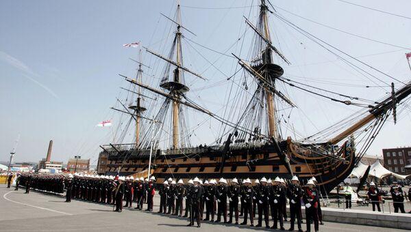 104-пушечный линейный корабль первого ранга Королевского флота Великобритании HMS Victory, которым командовал адмирал Нельсон во время Трафальгарского сражения, в Портсмуте
